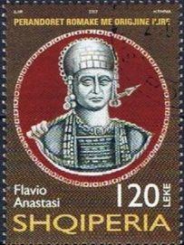 Albanian stamp of Anastasius I, an Albanian Illyrian native