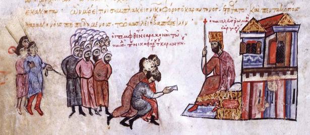 Arab captives before Romanos III, Madrid Skylitzes