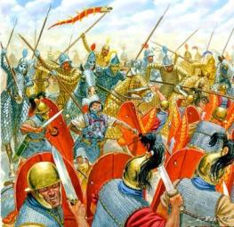 Romans defeated by the Parthian Persians at the Battle of Carrhae, 53BC