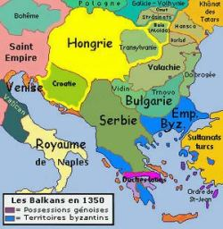 The Byzantine Empire (blue) in 1350