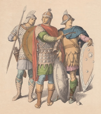 Warriors of the East Roman Empire (Byzantine Empire). Hand colored wood engraving, published c. 1880.
