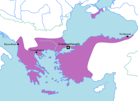 The Byzantine Empire in 1200 (purple)