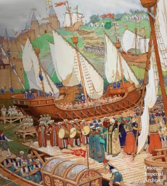 Ottoman ships dragged across land behind Constantinople, 1453
