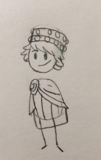 Cartoon sketch of Justinian
