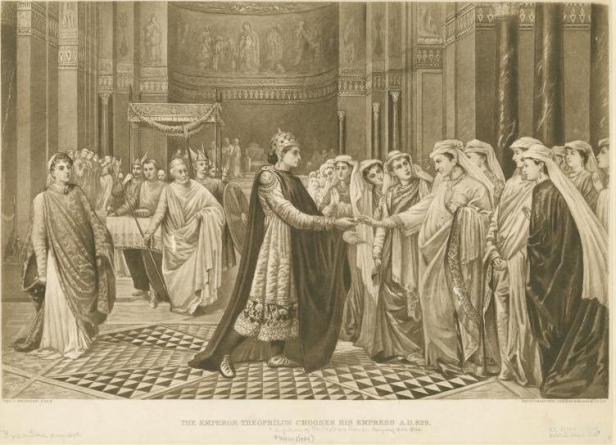 Bride show for Emperor Theophilos, arranged by Empress Euphrosyne