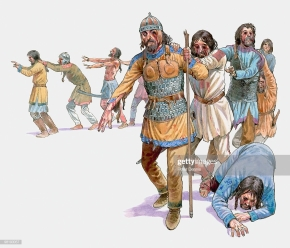 Basil II's Blinded Bulgarian prisoners after their defeat at the Battle of Kleidion, 1014