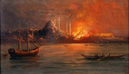 Fire burns Constantinople painting