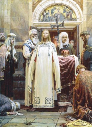 Baptism of Princess Olga of Kiev in Constantinople