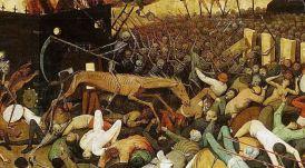 Medieval painting of Black Death