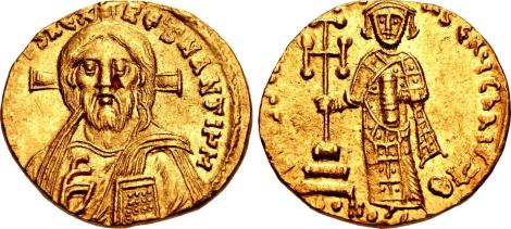 Coin of Justinian II featuring Christ