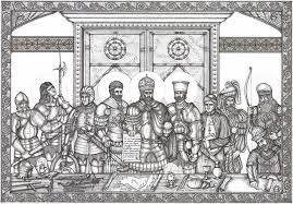 The defending generals of Constantinople with Constantine XI, Giustiniani, and Notaras (center 3)