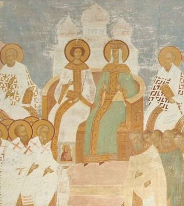 Empress Irene and son Constantine VI at the 787 Council of Nicaea