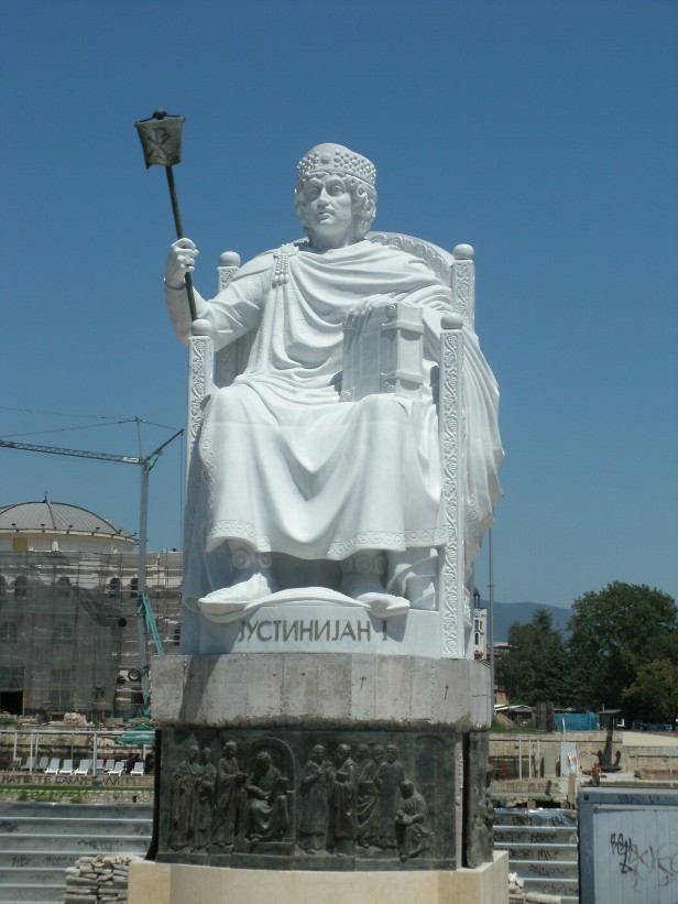 Statue of Justinian in his homeland (today's North Macedonia)
