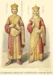 Constantine VII Porphyrogennetos and his wife Helena Lekapene, daughter of Romanos I
