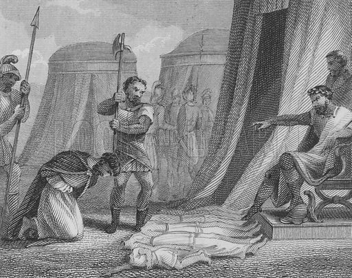 The Byzantine Emperor Maurice about to be executed by the usurper Phocas, having seen his five children killed in front of him, 602