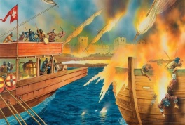 First use of Greek fire, 674-78 Arab Siege of Constantinople