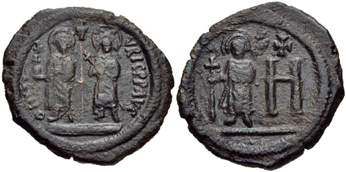 Coin of Maurice, his wife Constantia the daughter of Tiberius II, and son Theodosius