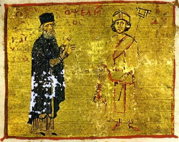 Chronicler Michael Psellos (left) and Emperor Michael VII (right)