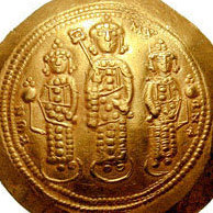 Coin of Emperor Michael VII Doukas (center) and his bothers Andronikos (left) and Constantius (right)