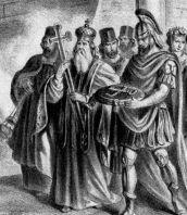 Leo VI (left) and Patriarch Nikolaos Mystikos (right)