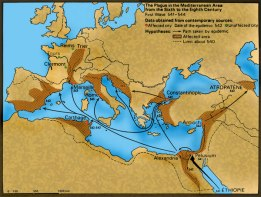Spread of the 542 Plague of Justinian