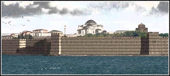 Constantinople seawalls with the Hagia Sophia behind