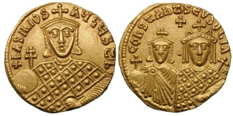 Coin of Basil I, his wife Eudokia Ingerina, and first son Constantine