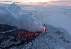 Recent ash volcanic eruption in Iceland