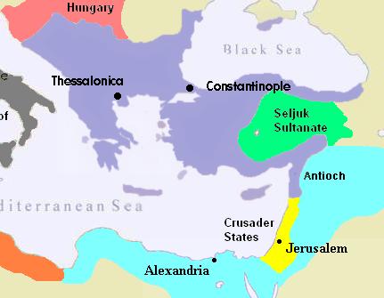The Byzantine Empire (purple) in 1180