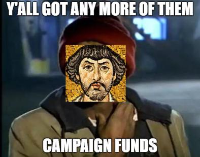 Belisarius' lack of funds meme