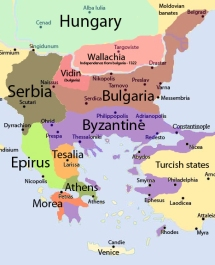 Byzantine Empire at the beginning of the 14th century (purple)