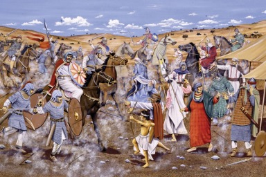 Byzantine defeat to the Arabs at the Battle of Yarmouk, 636