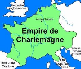 Map of Charlemagne's Holy Roman Empire in 800