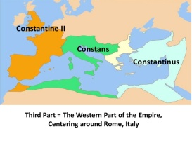 Map of the division of the Roman Empire among Constantine I's sons (337-361)