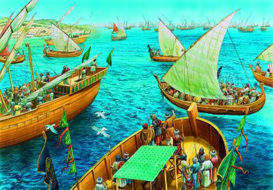 Arab fleet from Andalusia sales to and captures Crete, 824