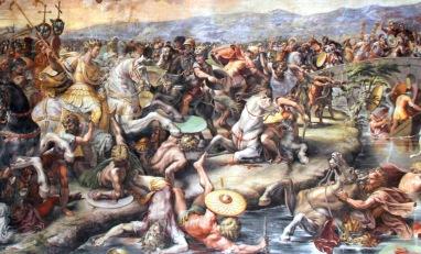 Constantine I wins the Battle of Milvian Bridge against Maxentius, 312