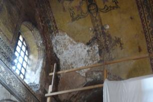 Damages mosaics revealed beneath the plaster