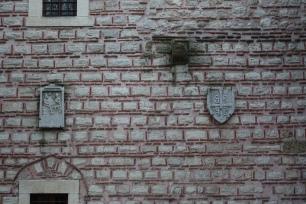 Byzantine symbols placed to the brick walls