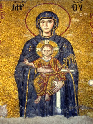 Mary and Christ mosaic in the apse