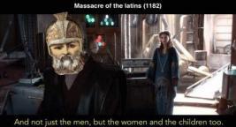 Meme of Andronikos I's massacre of the Latins