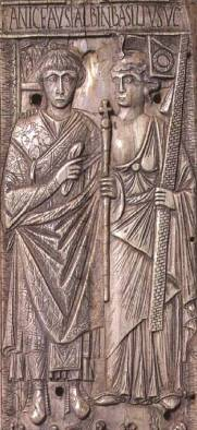 Emperor Basiliscus (r. 475-476) and his wife Zenonis (right)
