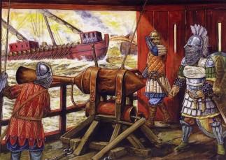 Byzantine soldiers operate Greek Fire