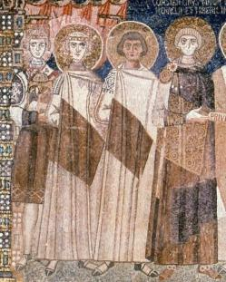 Right to left: Emperor Constantine IV, his brothers Tiberius (2nd from right) and Heraclius (3rd from right), and son Justinian II (leftmost)