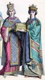 Empress Ino Anastasia (left) and daughter Constantia (right) in imperial robes