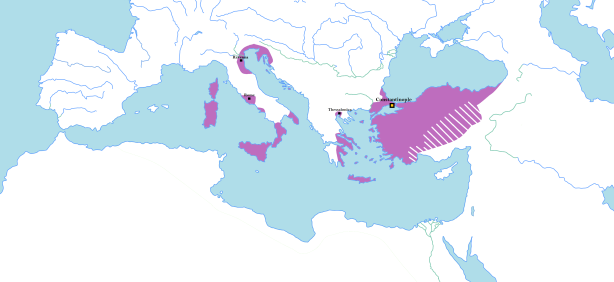 Remains of Byzantium (purple), 717