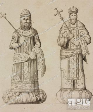 Michael VIII with son Andronikos II Palaiologos in the late-Byzantine imperial Loros