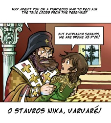 Comic of Patriarch Sergios and young Constantine III