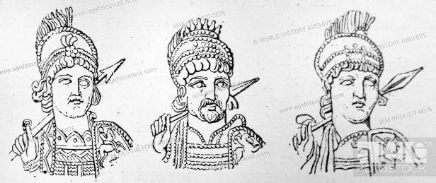 The 3 Byzantine emperors Anastasius I (left), Justin I (center), and Justinian I (right)
