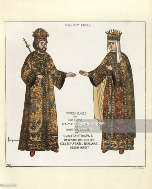 John V Palaiologos and wife Helena Kantakouzene, daughter of John VI in 14th century imperial robes