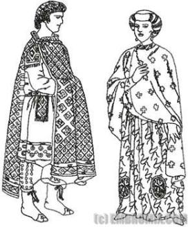 Emperor Justin II (left) and wife Empress Sophia (right)